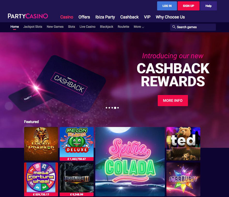 70 Free Spins at Party Casino