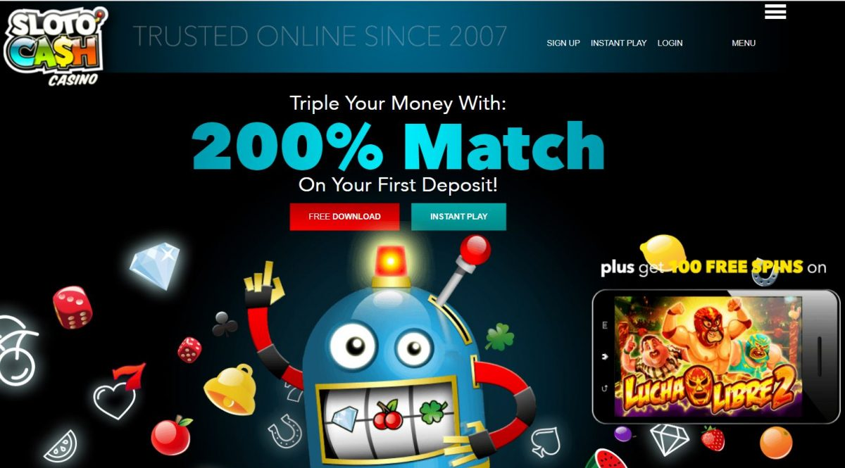 Up to 90 free spins + 30% match bonus at Sloto Cash Casino