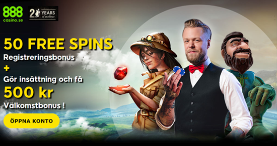 50 free spins + a generous 500 kr welcome bonus when they deposit 100 kr. at 888 Casino Online