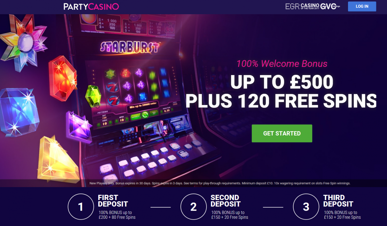 100% up to 0 spread out over first three deposits at Party Casino