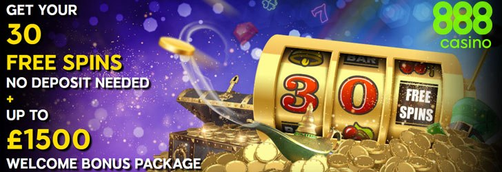 30 free spins + 40 Vip spins from 888 Casino