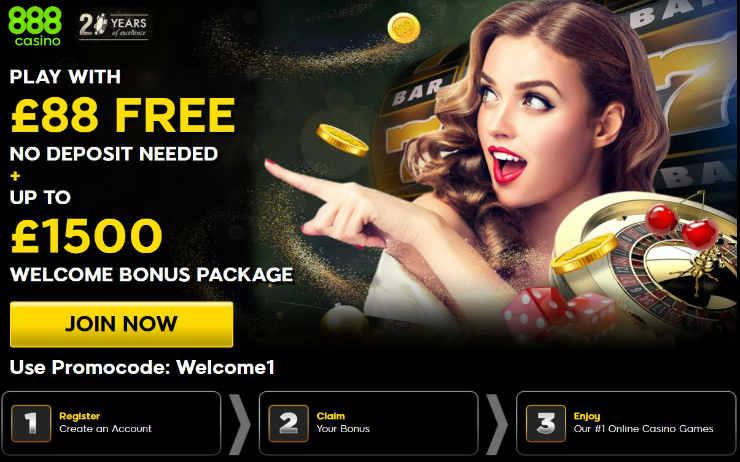 Ексклузивен бесплатен код за бонуси за казино за 888 Казино. До 5 Нема бонус за депозит