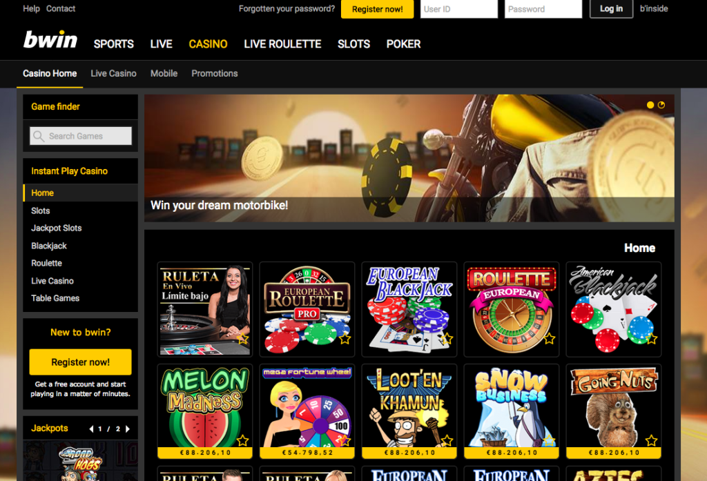 250% Match Casino Bonus at bWin