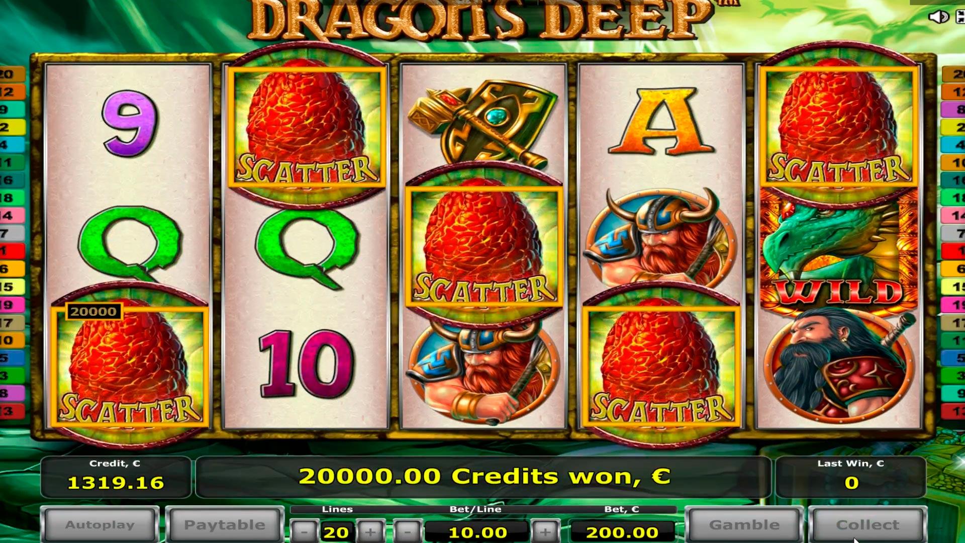 Grande vittoria del casinò con draghi giganti !!! 5 disperde !!! Vinci € 40.000!