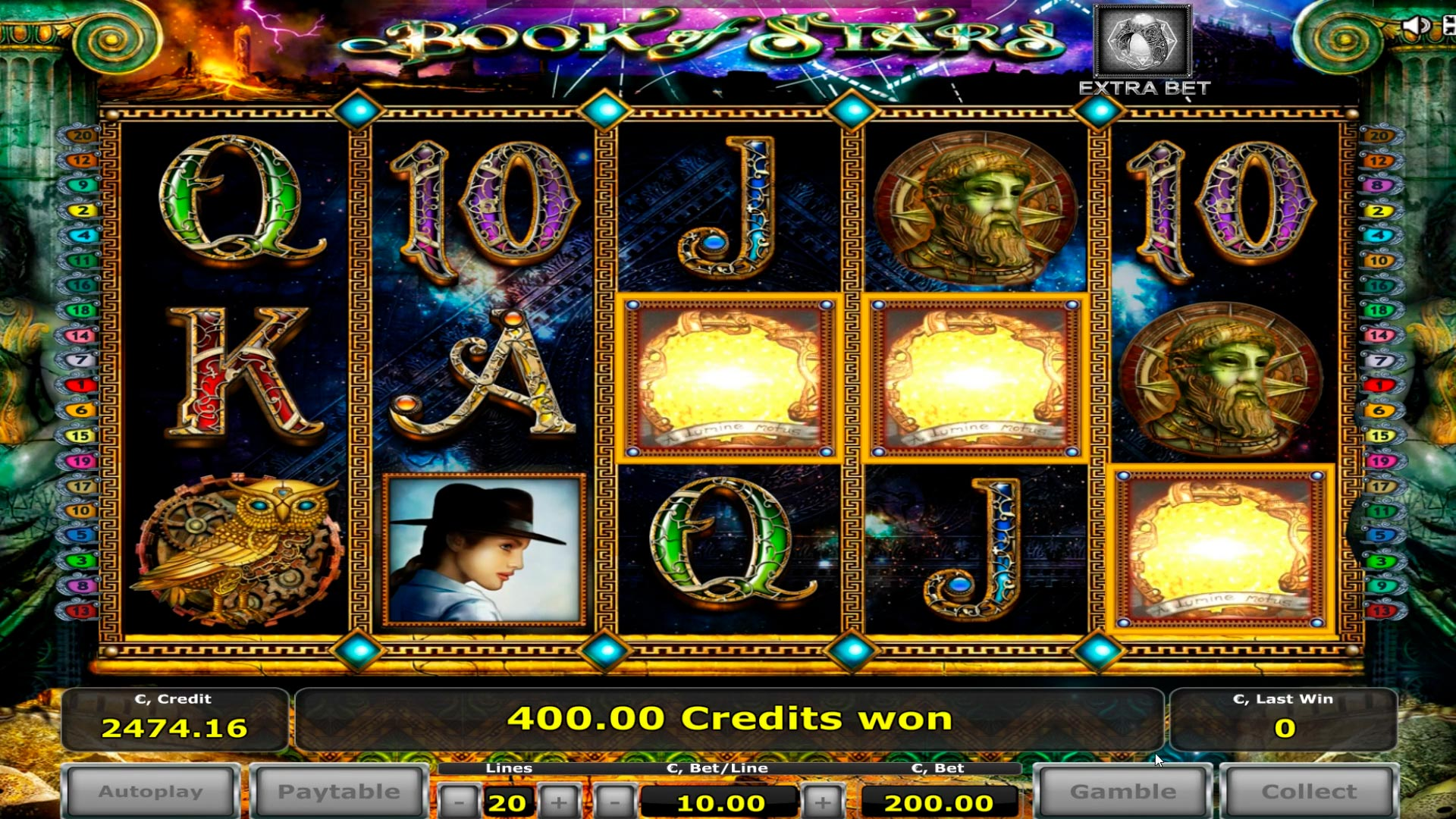 Grande vincita del book of stars casino - € 20.000