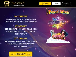 Derzeit bietet CKCasino seine Software in den wichtigsten für 2 relevanten Sprachen an