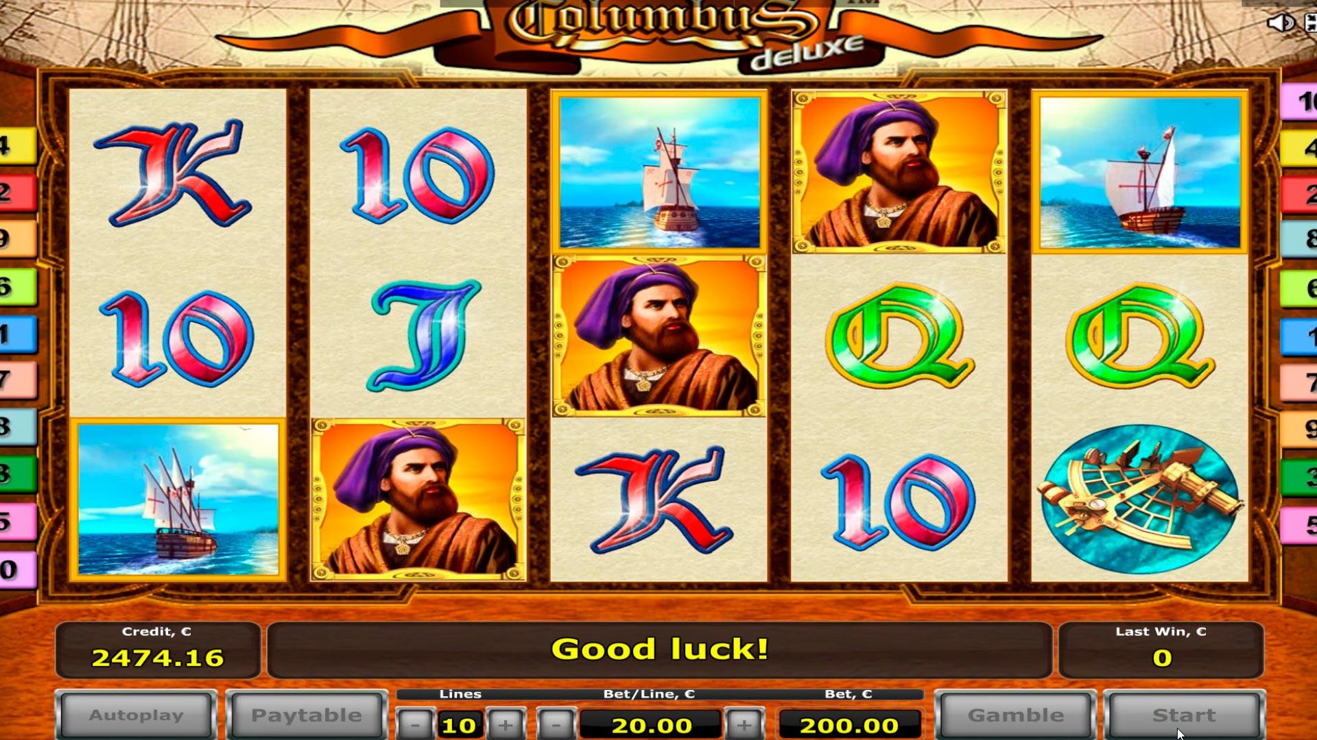 Columbus casino slot büyük kazancı € 9.500