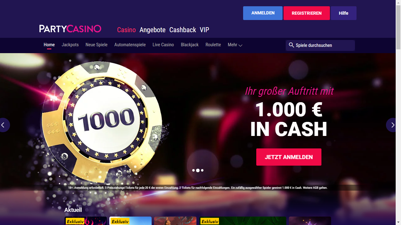 Up to 0 match bonus +  free chip from Party Casino