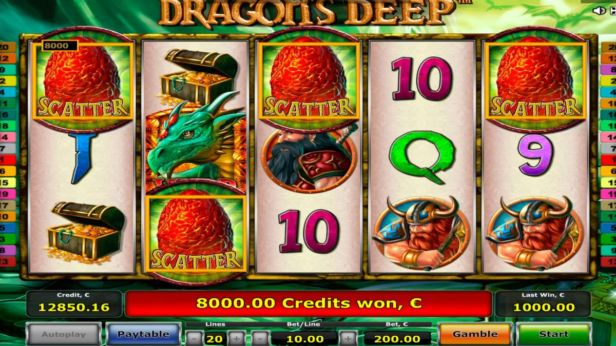 Dragons Deep Casino slot - win €40,000 - 4 scatters - 2 bonus games!