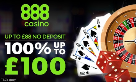 1st: 200% do 100 in 10 se vrti s prvim pologom v Casino 888