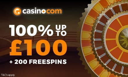 Get a First Deposit Bonus of 100% up to £100 + 180 Extra Spins on Age of the Gods at Casino.com