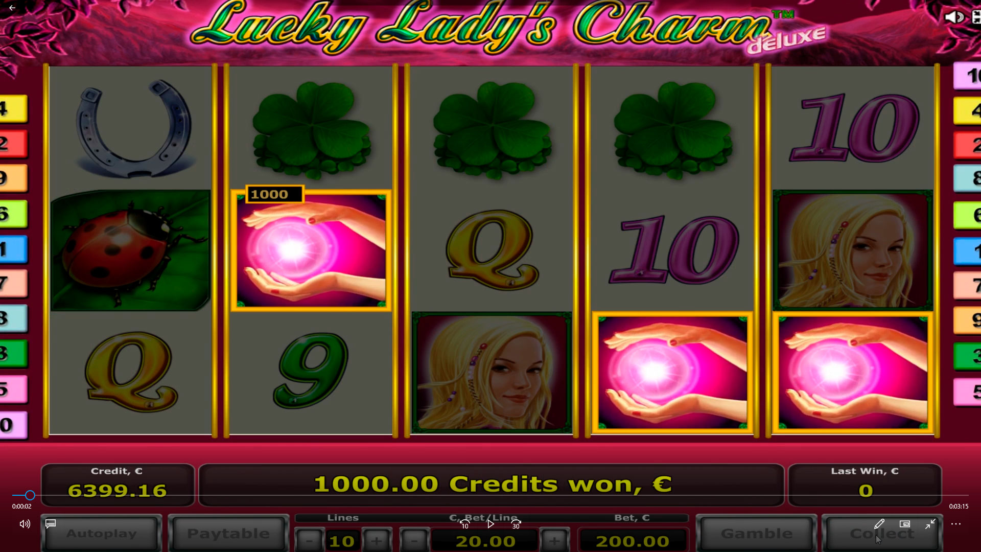 Lucky lady's charm big win €21.000