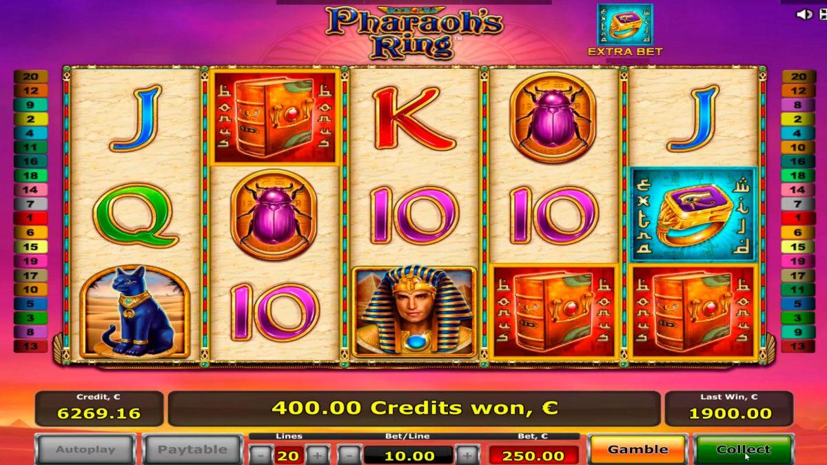 Faraona gredzena kazino slots lielā laimē € 18,000 ar bonusa spēli!