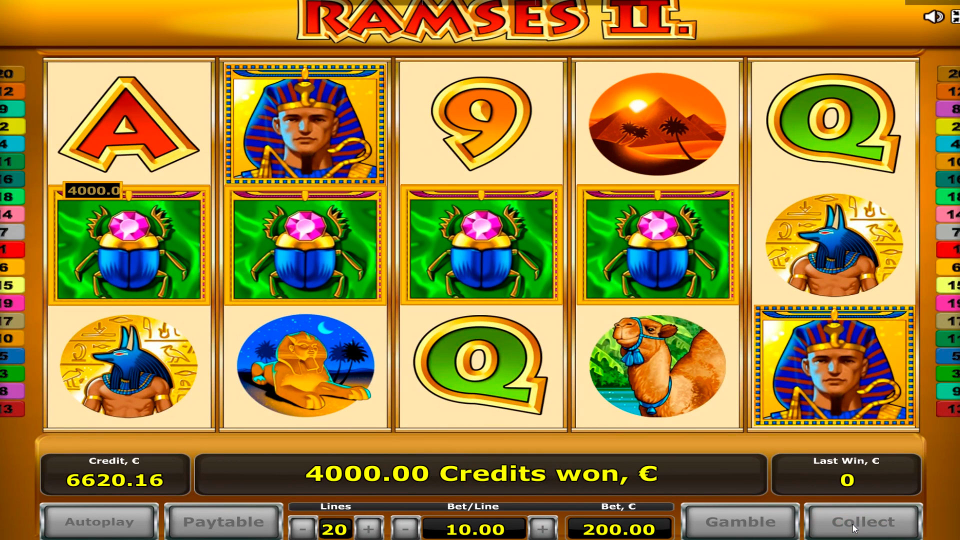 Ramses II - 2 bonus game con retrigger BIG win € 44.000