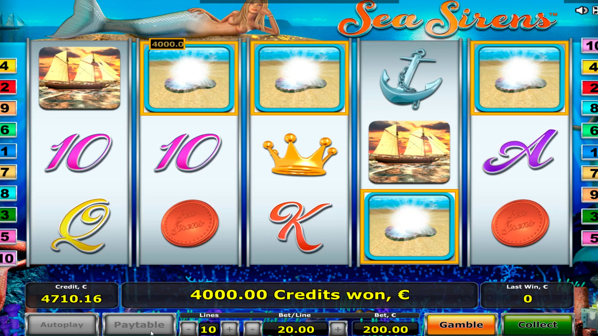 Sea sirens kasino slot big win € 40.000, bonusová hra s retrigerem!