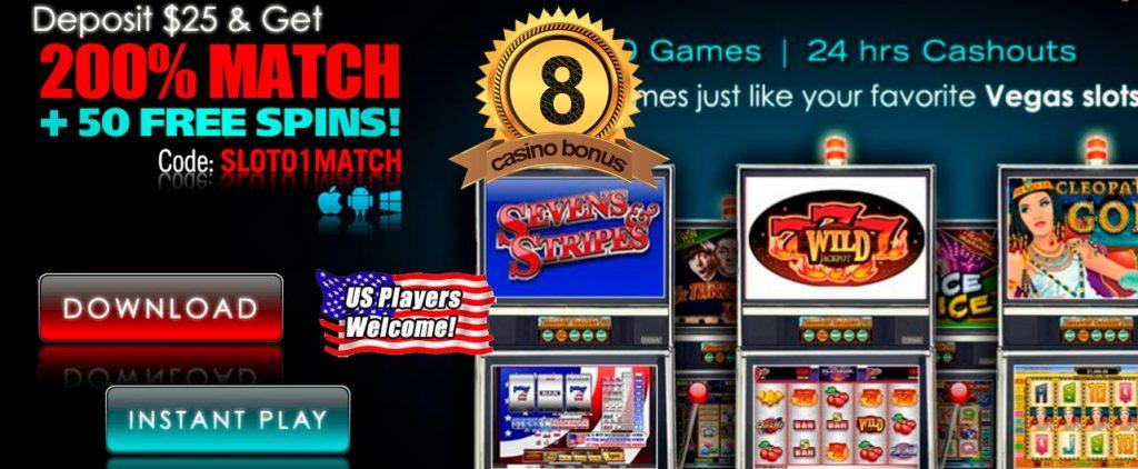 Den bedste casinobonus #8. Indbetal $ 25 & få 200% Match + 50 gratis spins!