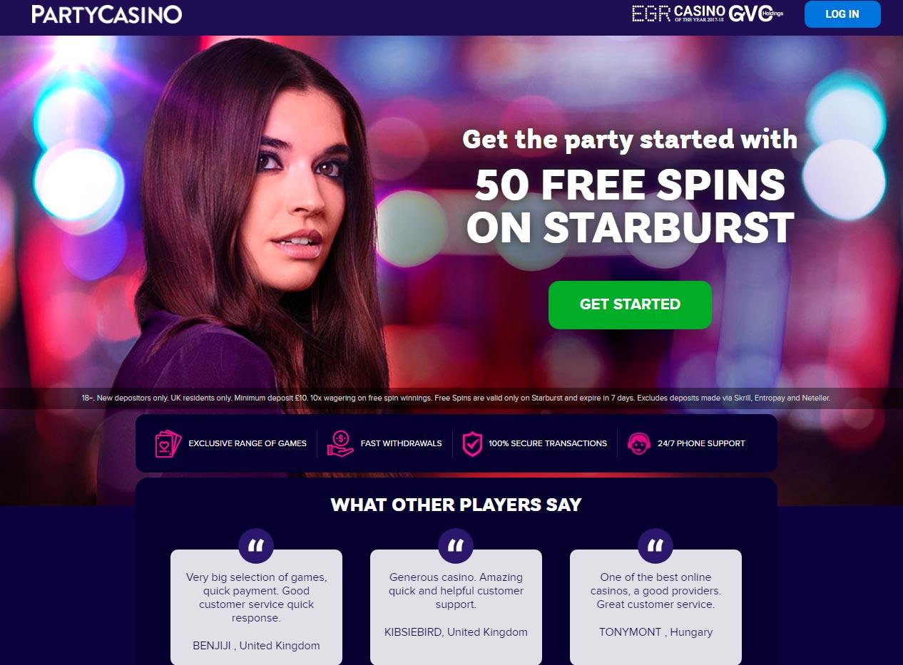 50 Անվճար շրջադարձեր Party Casino- ում Starburst խաղի վրա