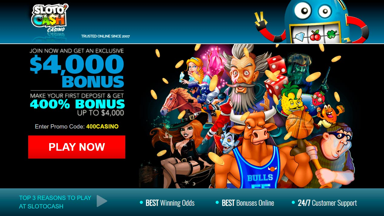 Қазір қосылыңыз және Sloto Cash Casino эксклюзивті $ 4,000 бонус алыңыз