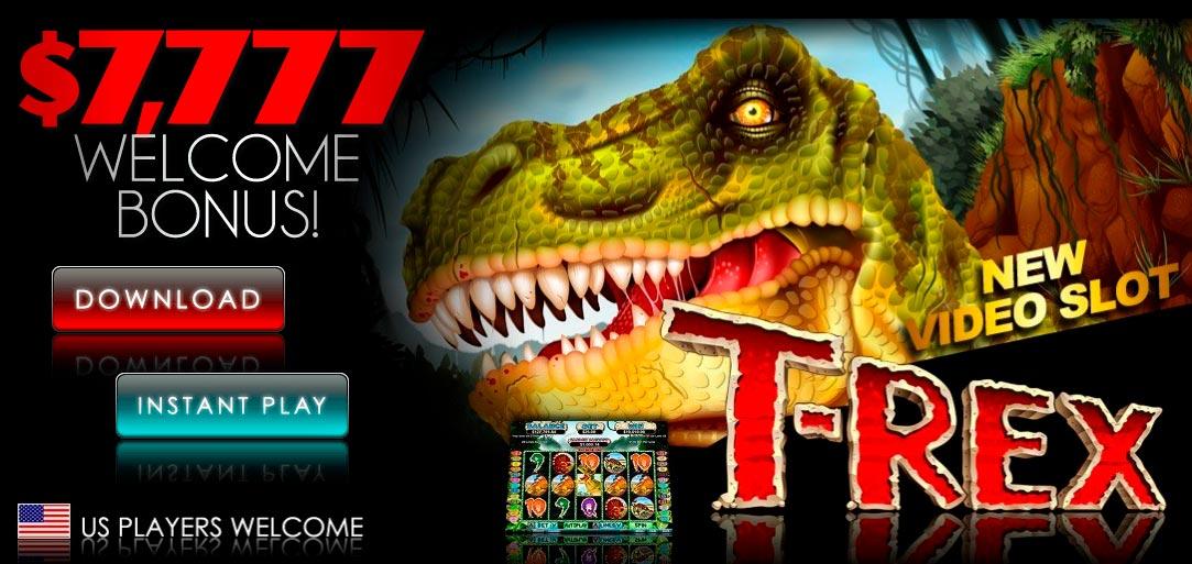 400% մինչև $ 3000 + 30- ը պտտվում է T-Rex II- ի վրա Sloto Cash խաղատանը: